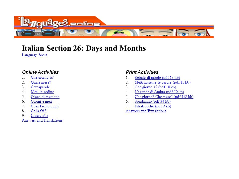Italian Section 26: Days and Months
