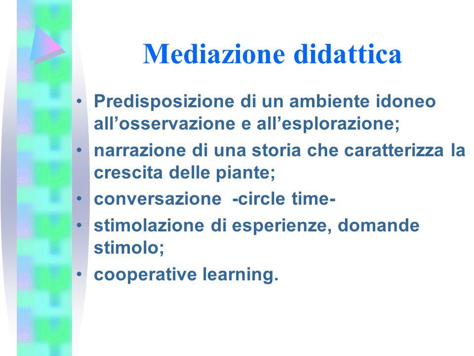 Mediazione didattica Predisposizione di un ambiente idoneo all'osservazione e all'esplorazione;
