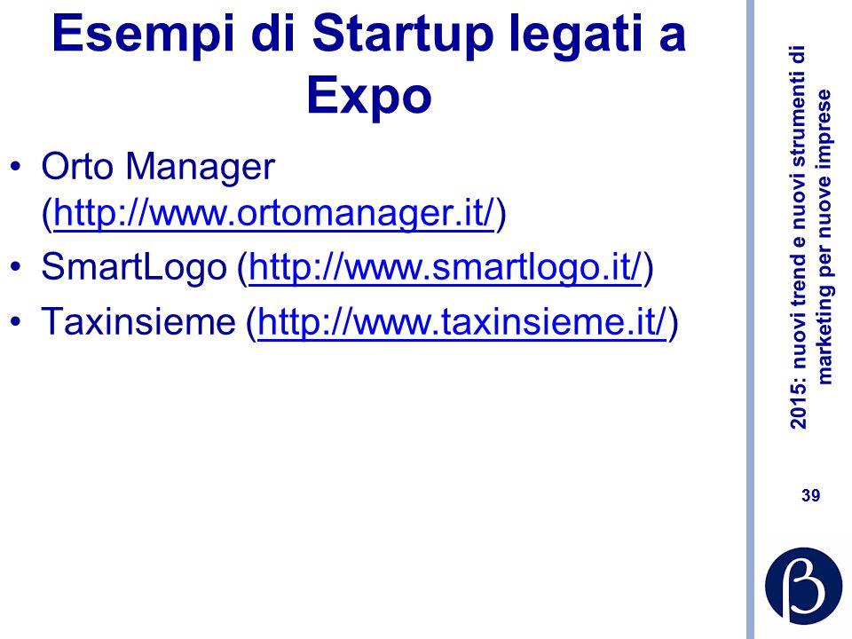 Esempi di Startup legati a Expo