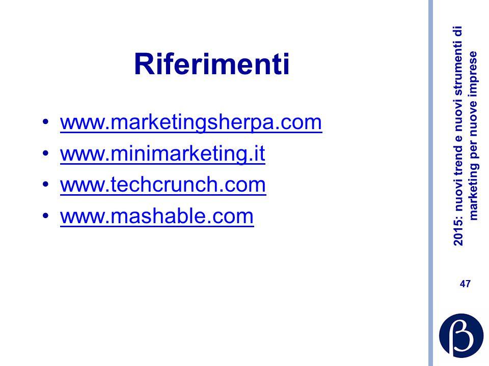 Riferimenti www.marketingsherpa.com www.minimarketing.it