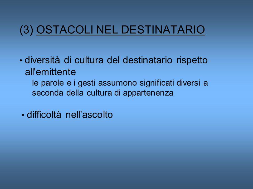 (3) OSTACOLI NEL DESTINATARIO