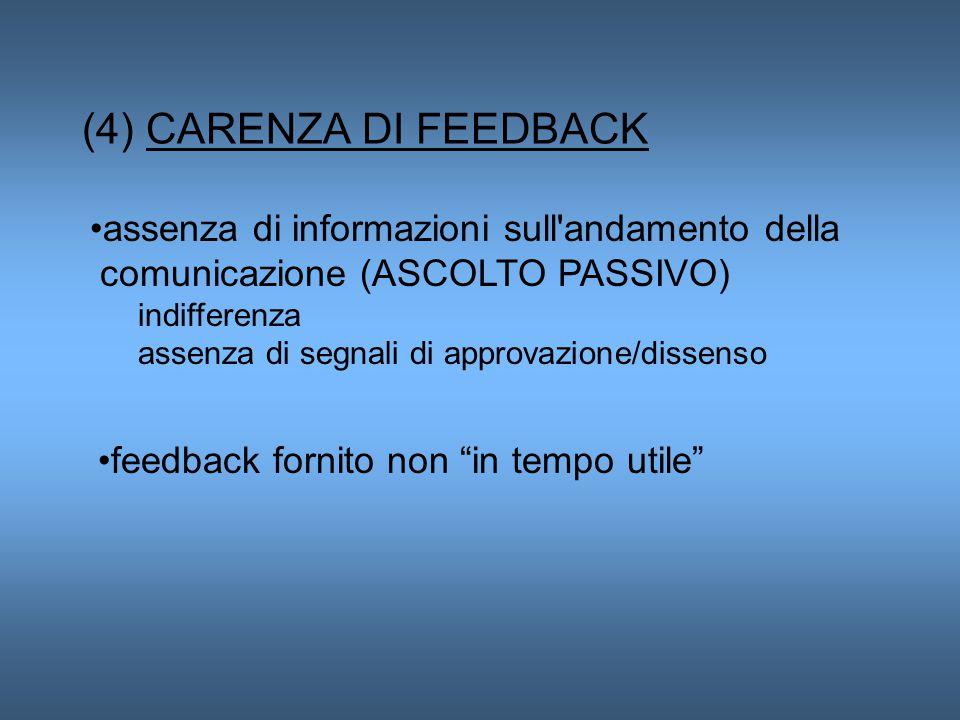 (4) CARENZA DI FEEDBACK assenza di informazioni sull andamento della comunicazione (ASCOLTO PASSIVO)
