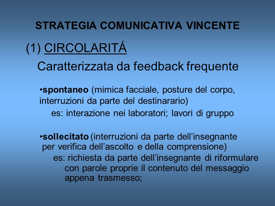 STRATEGIA COMUNICATIVA VINCENTE