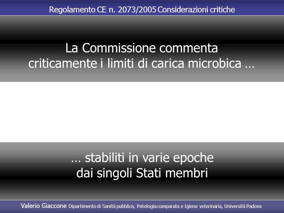La Commissione commenta criticamente i limiti di carica microbica …