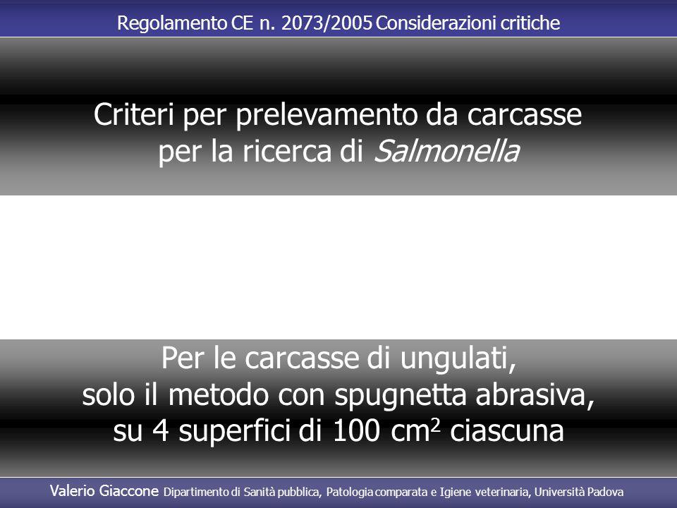 Criteri per prelevamento da carcasse per la ricerca di Salmonella