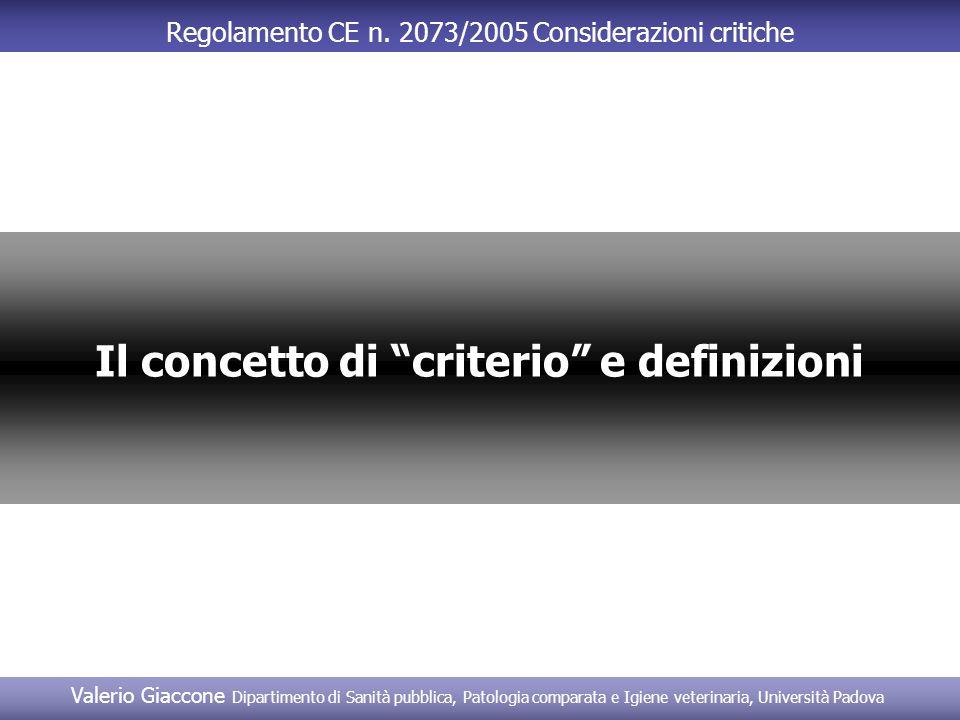 Il concetto di criterio e definizioni