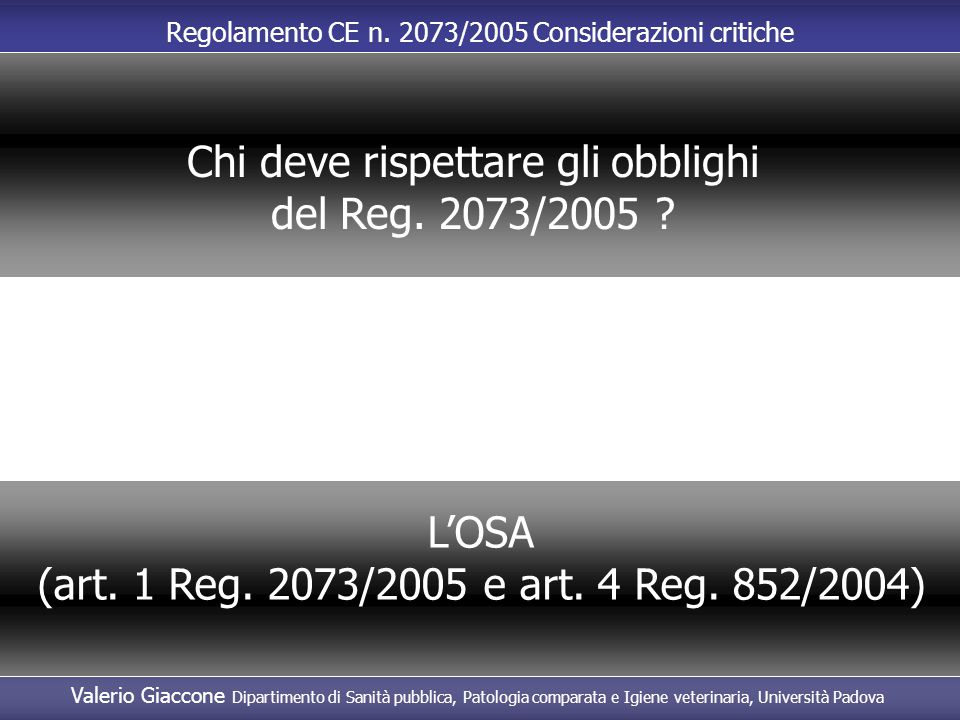 Chi deve rispettare gli obblighi del Reg. 2073/2005