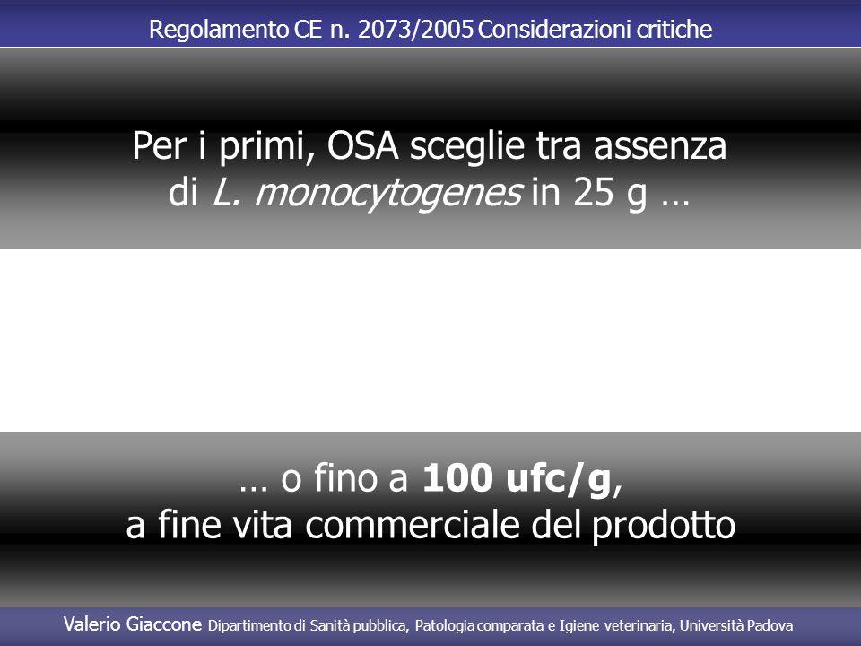 Per i primi, OSA sceglie tra assenza di L. monocytogenes in 25 g …