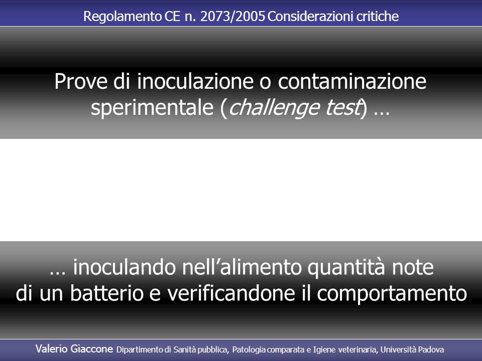 Prove di inoculazione o contaminazione sperimentale (challenge test) …