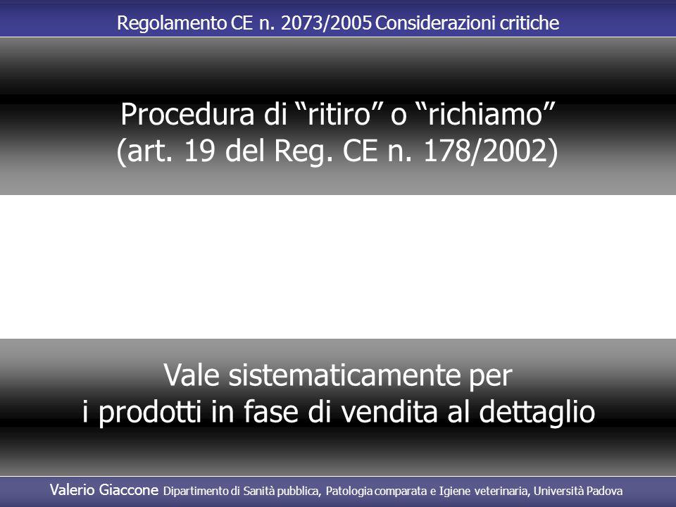 Procedura di ritiro o richiamo (art. 19 del Reg. CE n. 178/2002)