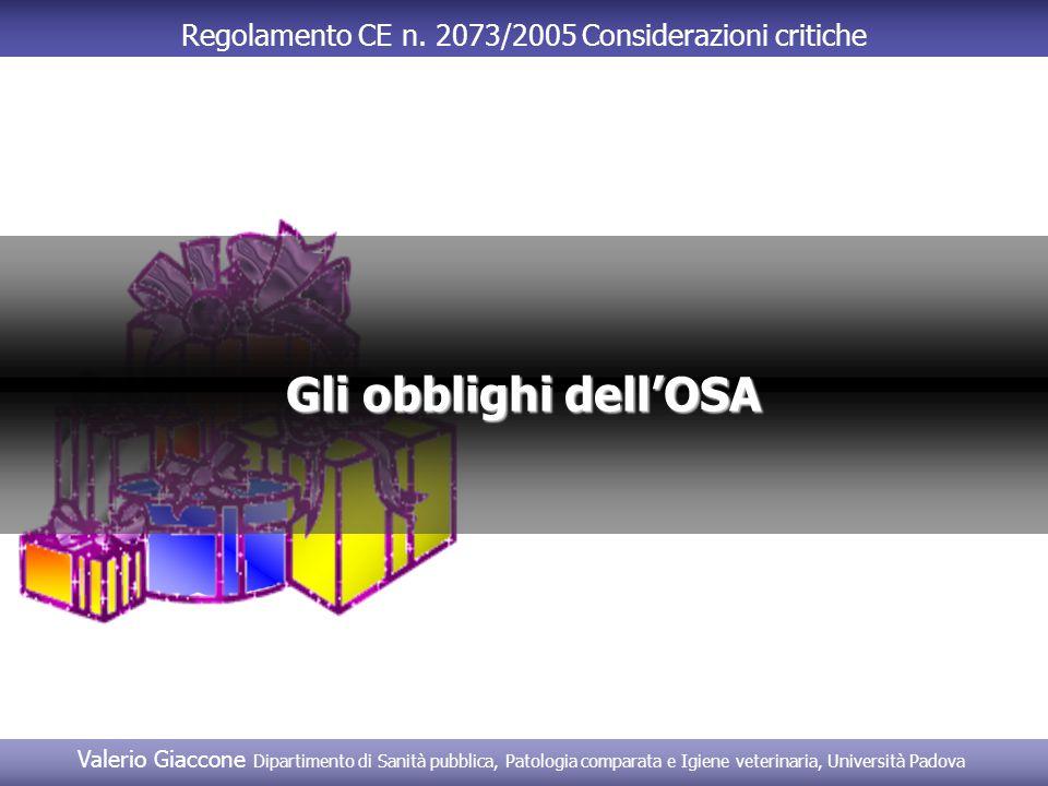 Regolamento CE n. 2073/2005 Considerazioni critiche