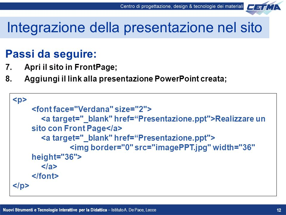 Integrazione della presentazione nel sito