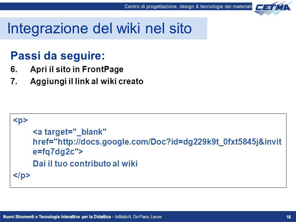 Integrazione del wiki nel sito
