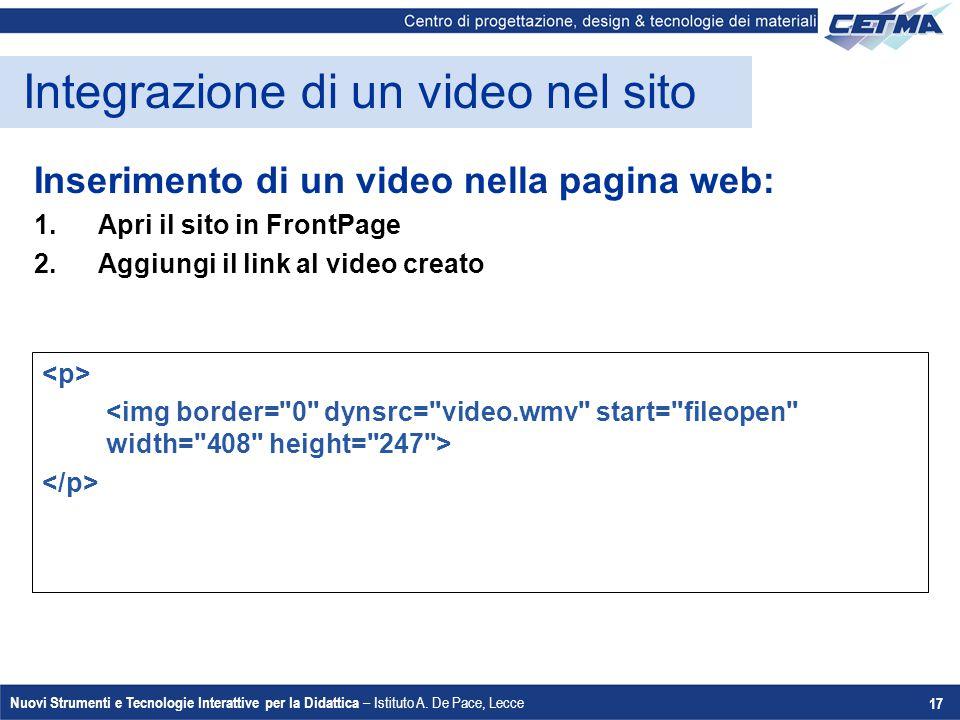 Integrazione di un video nel sito