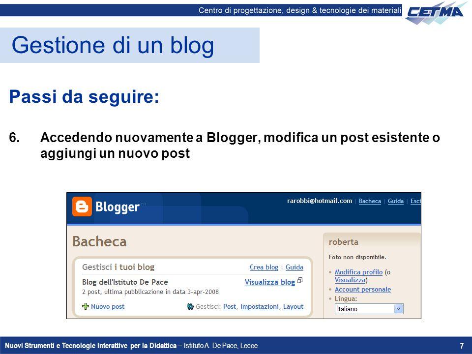 Gestione di un blog Passi da seguire: