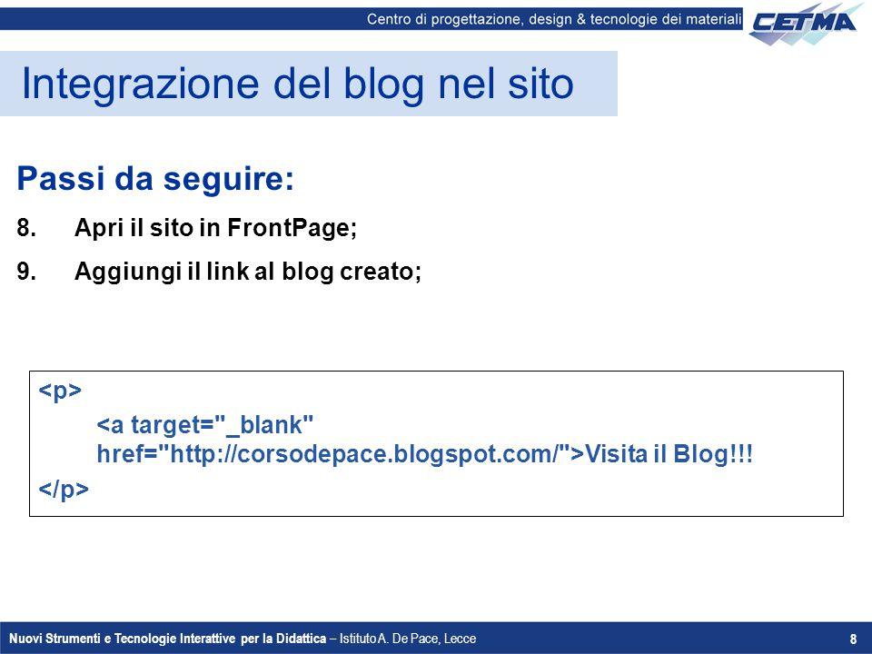 Integrazione del blog nel sito