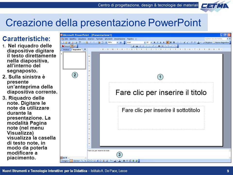 Creazione della presentazione PowerPoint