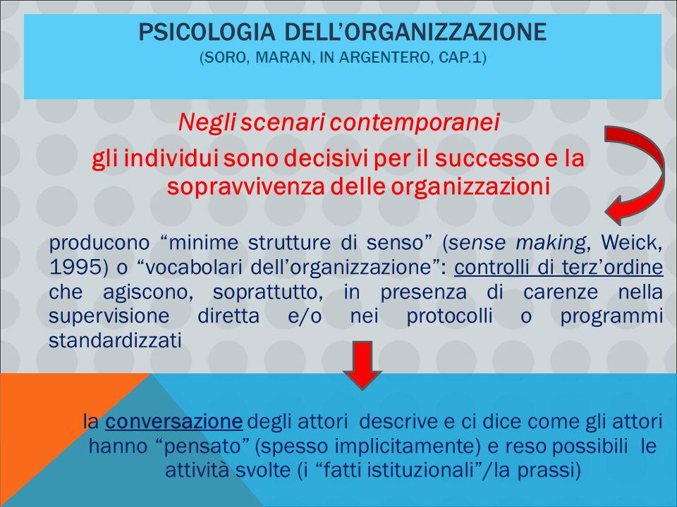 Psicologia dell'organizzazione (Soro, Maran, in Argentero, cap.1)