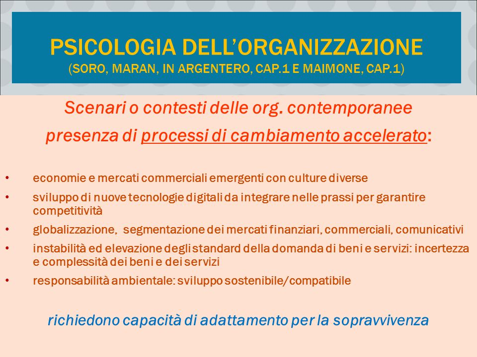 Psicologia dell'organizzazione (Soro, Maran, in Argentero, cap