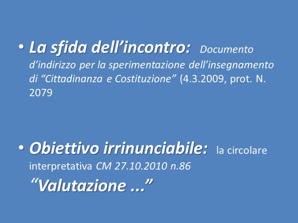 La sfida dell'incontro: Documento d'indirizzo per la sperimentazione dell'insegnamento di Cittadinanza e Costituzione (4.3.2009, prot. N. 2079