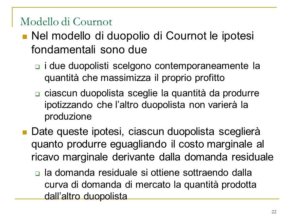 Modello di Cournot Nel modello di duopolio di Cournot le ipotesi fondamentali sono due.