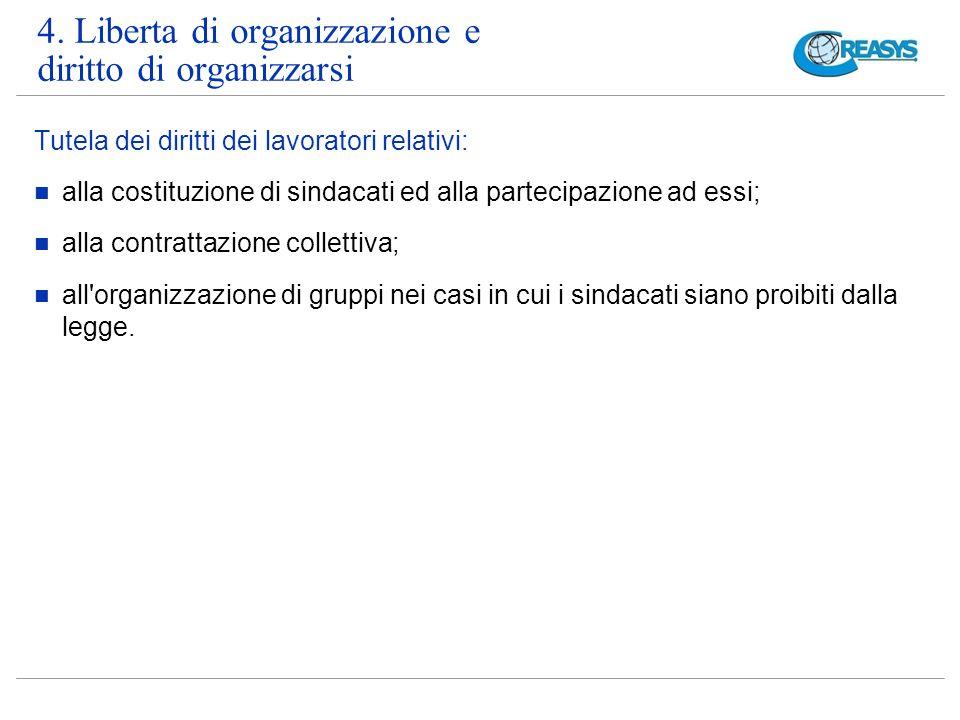 4. Liberta di organizzazione e diritto di organizzarsi