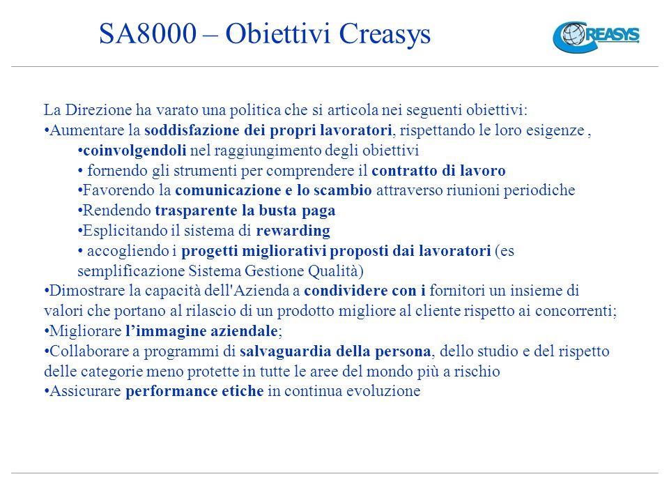 SA8000 – Obiettivi Creasys La Direzione ha varato una politica che si articola nei seguenti obiettivi: