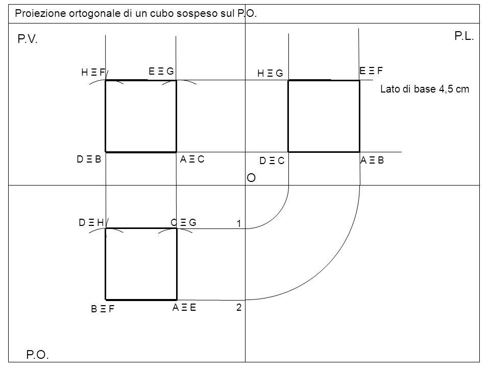 Proiezione ortogonale di un cubo sospeso sul P.O.