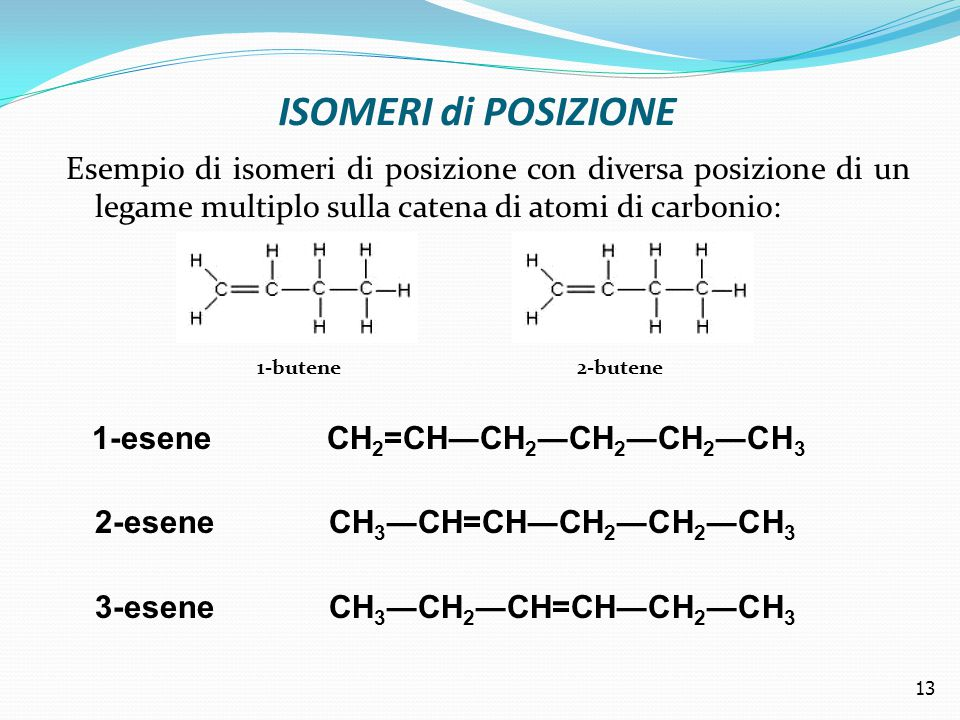 ISOMERI di POSIZIONE Esempio di isomeri di posizione con diversa posizione di un legame multiplo sulla catena di atomi di carbonio: