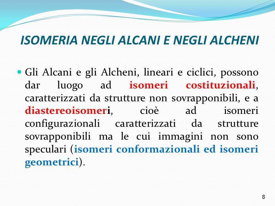 ISOMERIA NEGLI ALCANI E NEGLI ALCHENI