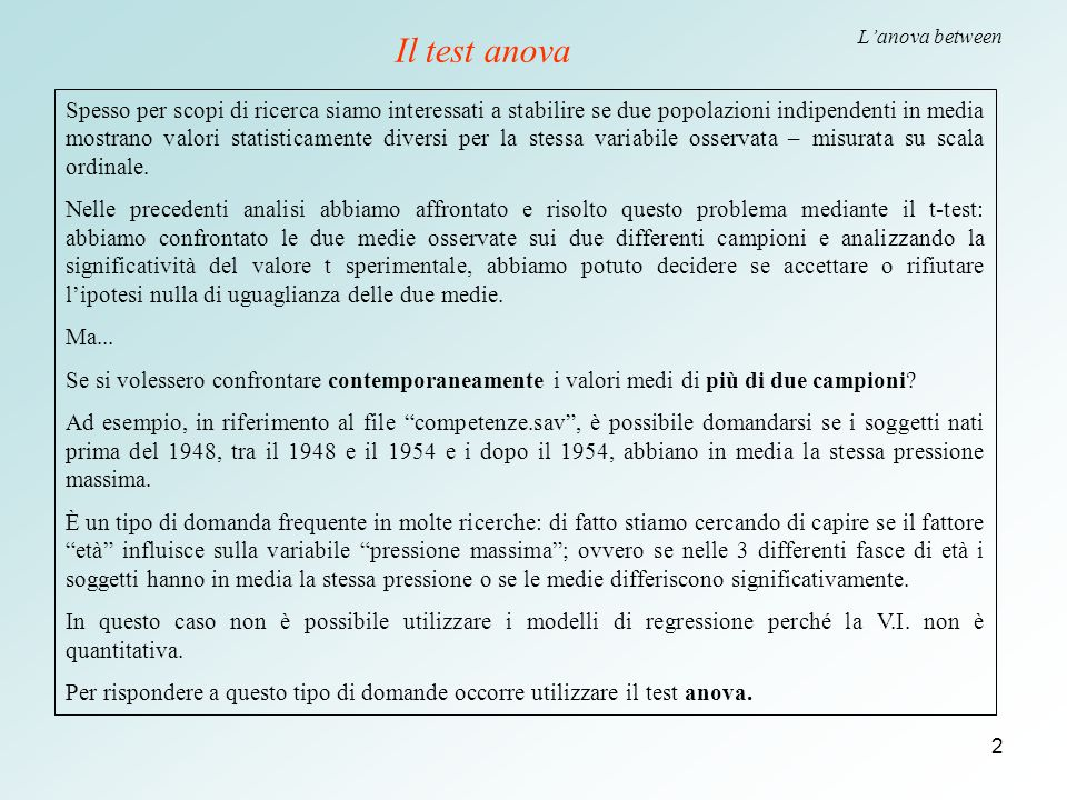 Il test anova L'anova between.