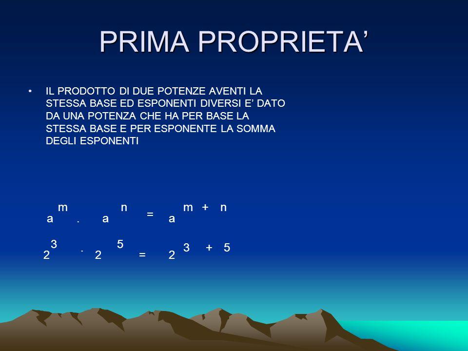 PRIMA PROPRIETA' m n m + n = a . a a 3 5 . 3 + 5 2 2 = 2