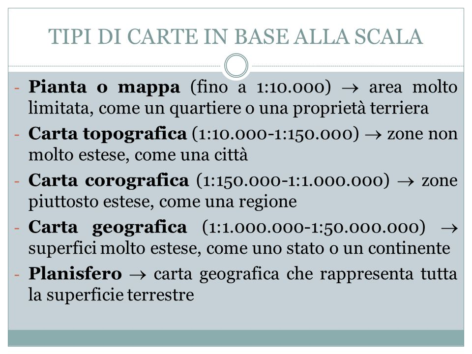 TIPI DI CARTE IN BASE ALLA SCALA