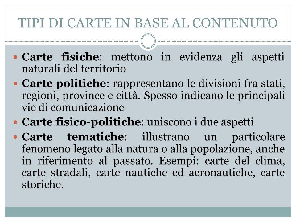 TIPI DI CARTE IN BASE AL CONTENUTO
