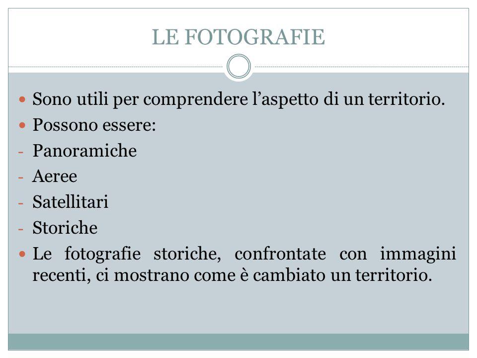 LE FOTOGRAFIE Sono utili per comprendere l'aspetto di un territorio.