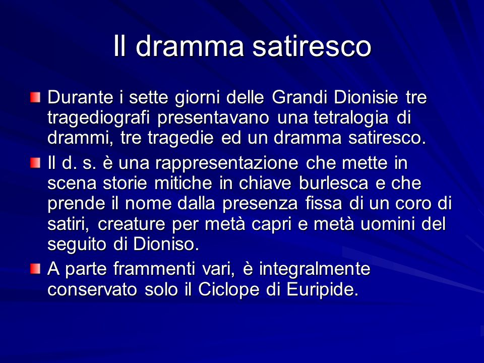 Il dramma satiresco