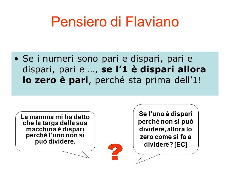 Pensiero di Flaviano Se i numeri sono pari e dispari, pari e dispari, pari e …, se l'1 è dispari allora lo zero è pari, perché sta prima dell'1!