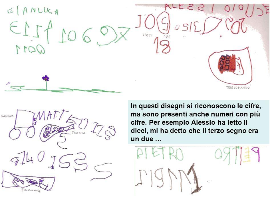 In questi disegni si riconoscono le cifre, ma sono presenti anche numeri con più cifre.