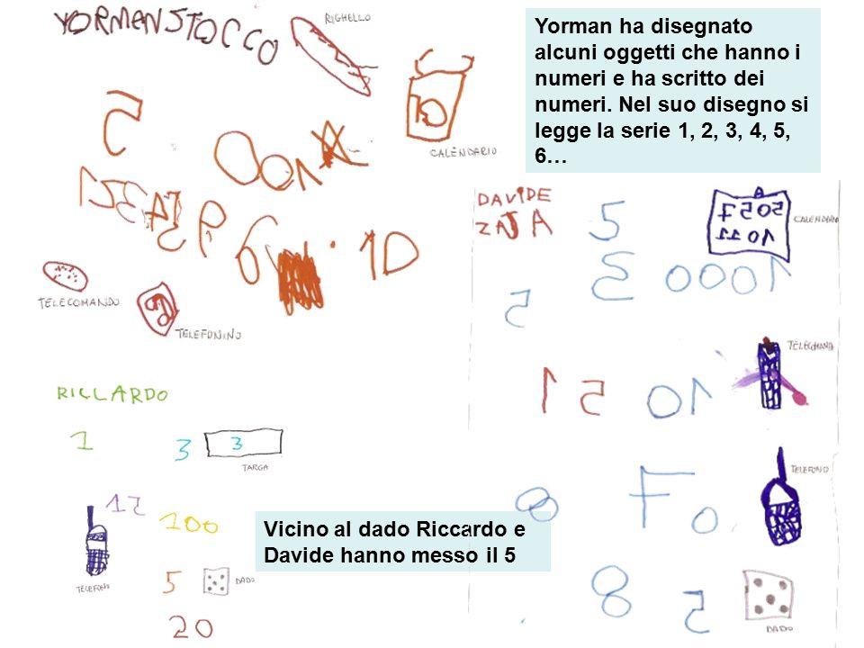 Yorman ha disegnato alcuni oggetti che hanno i numeri e ha scritto dei numeri. Nel suo disegno si legge la serie 1, 2, 3, 4, 5, 6…