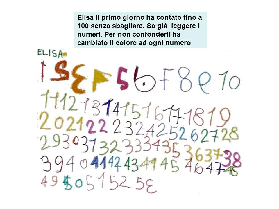 Elisa il primo giorno ha contato fino a 100 senza sbagliare