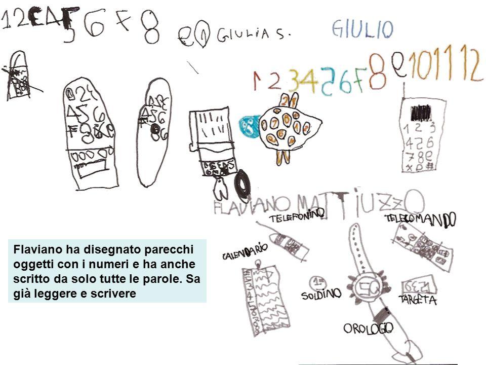 Flaviano ha disegnato parecchi oggetti con i numeri e ha anche scritto da solo tutte le parole.