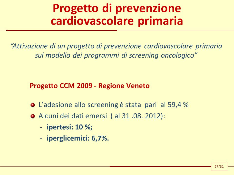 Progetto di prevenzione cardiovascolare primaria