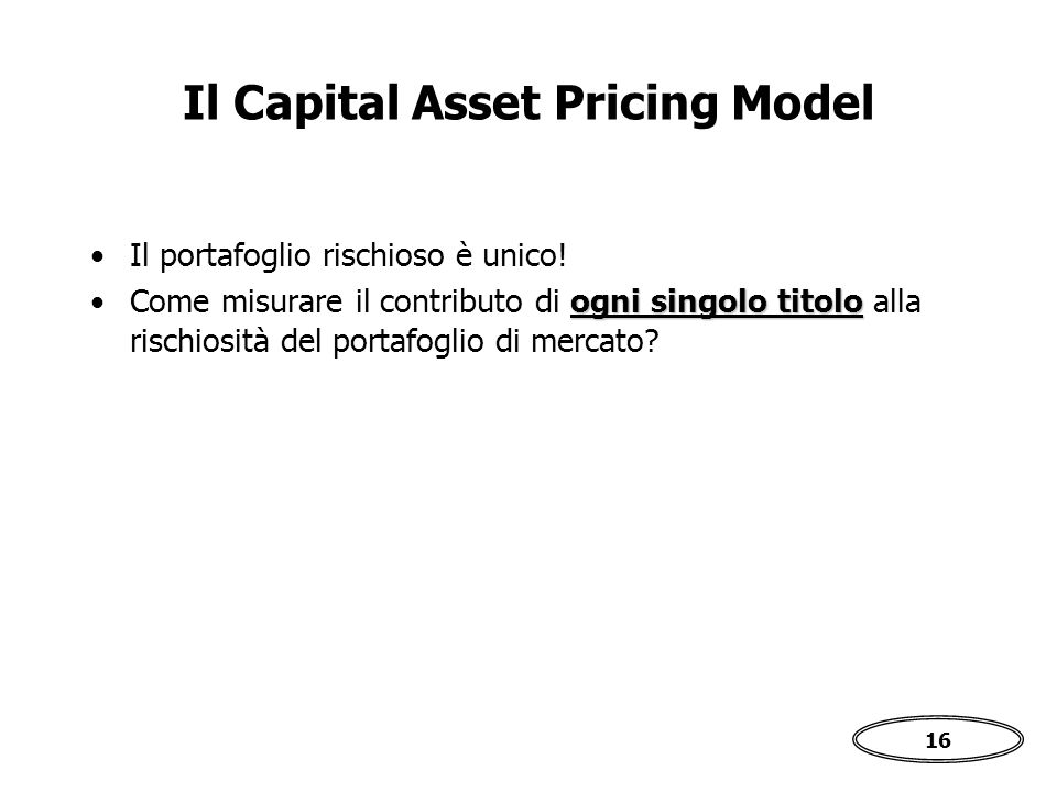 Il Capital Asset Pricing Model