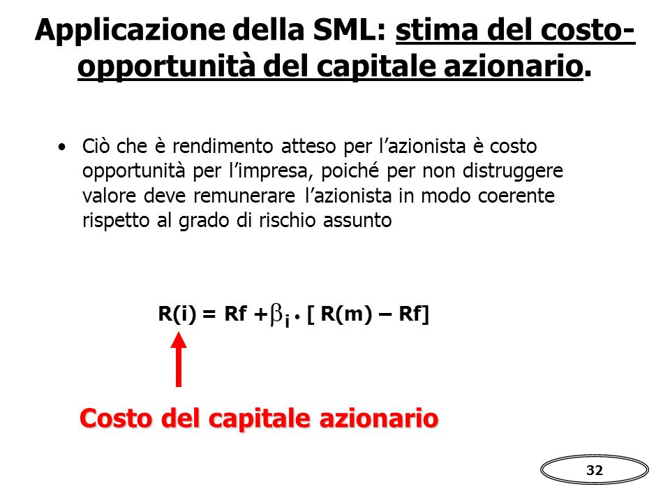 Applicazione della SML: stima del costo-opportunità del capitale azionario.