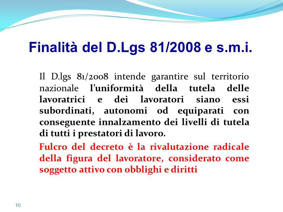 Finalità del D.Lgs 81/2008 e s.m.i.