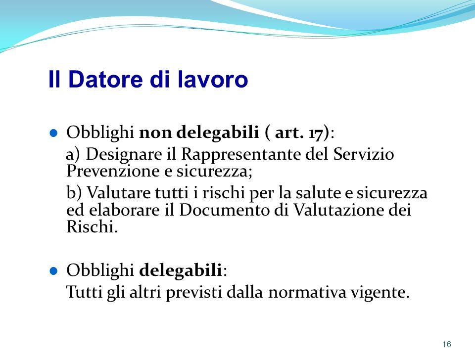Il Datore di lavoro Obblighi non delegabili ( art. 17):