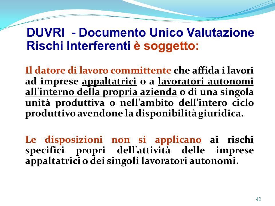 DUVRI - Documento Unico Valutazione Rischi Interferenti è soggetto: