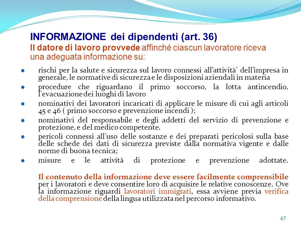 INFORMAZIONE dei dipendenti (art