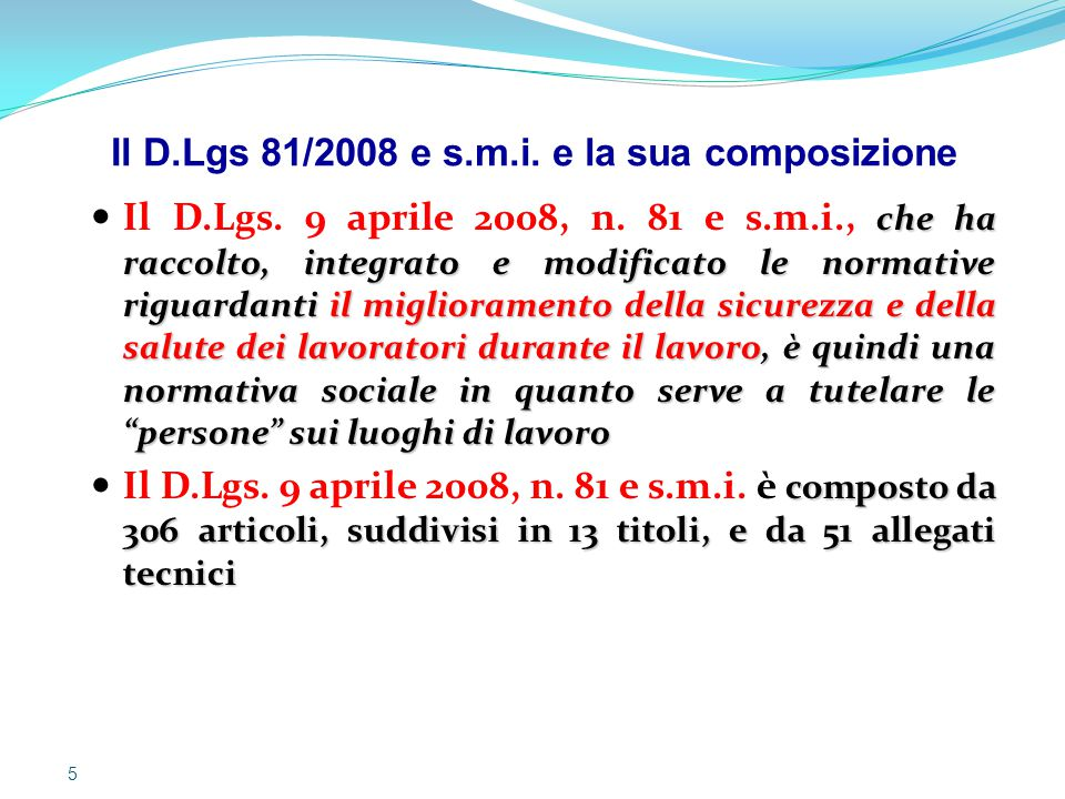 Il D.Lgs 81/2008 e s.m.i. e la sua composizione