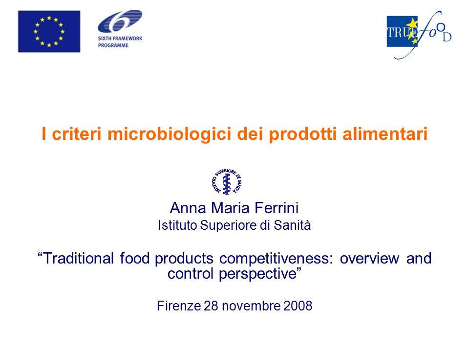 I criteri microbiologici dei prodotti alimentari